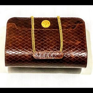 VINTAGE ALBERT NIPON PURSE Cognac Brown w/ Gold